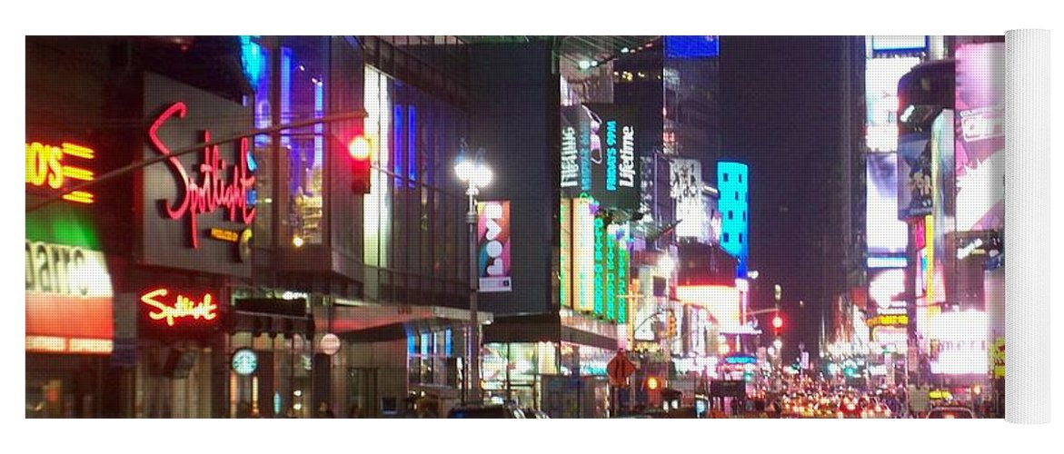 Times Square Yoga Mat featuring the photograph Times Square in the rain 2 by Anita Burgermeister