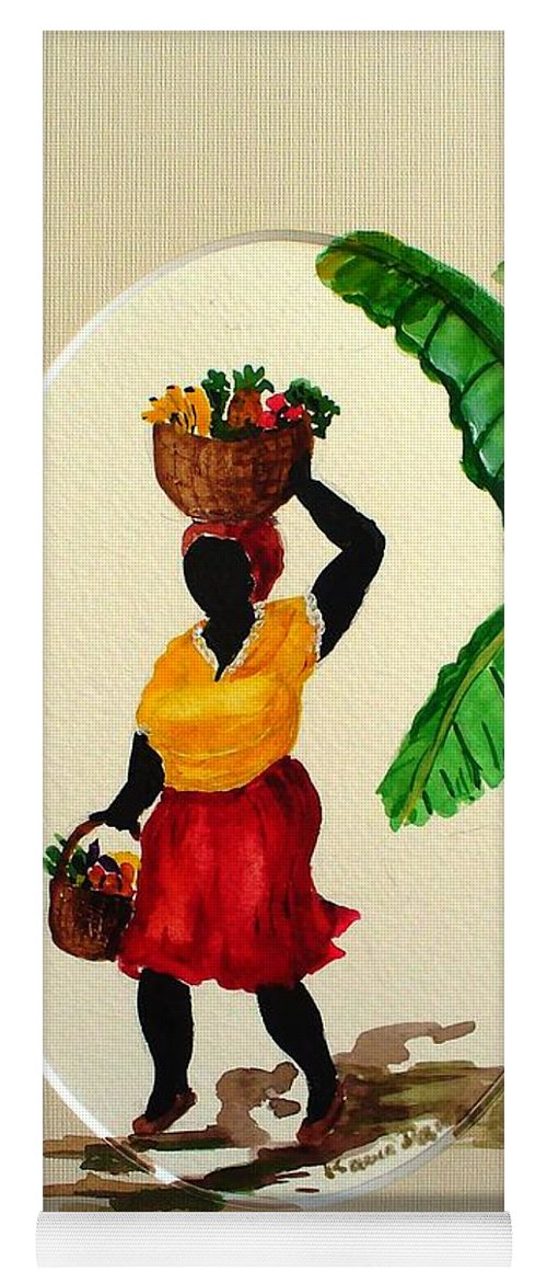 Caribbean Market Womanfruit & Veg Yoga Mat featuring the painting To market by Karin Dawn Kelshall- Best
