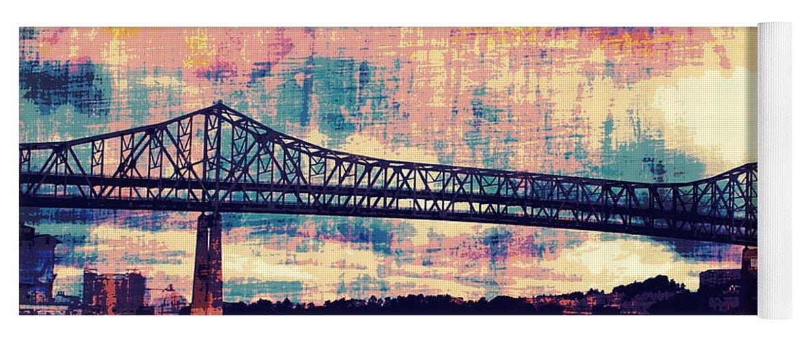 Brandi Fitzgerald Yoga Mat featuring the digital art Tobin Bridge Boston Ma by Brandi Fitzgerald