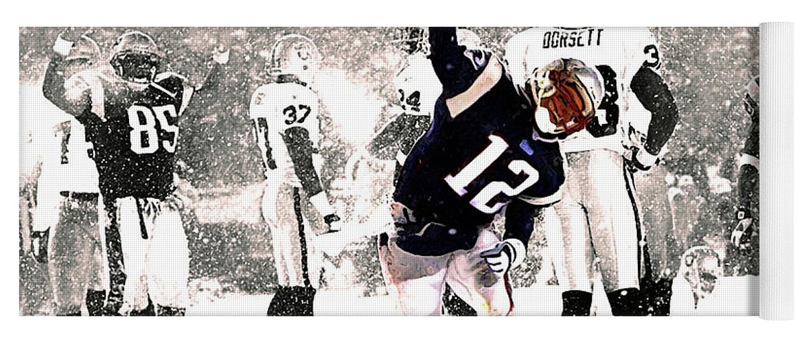 Tom Brady Yoga Mat featuring the mixed media Tom Brady Touchdown Spike by Brian Reaves