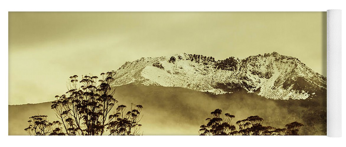 Vintage Yoga Mat featuring the photograph Toned View Of A Snowy Mount Gell, Tasmania by Jorgo Photography - Wall Art Gallery