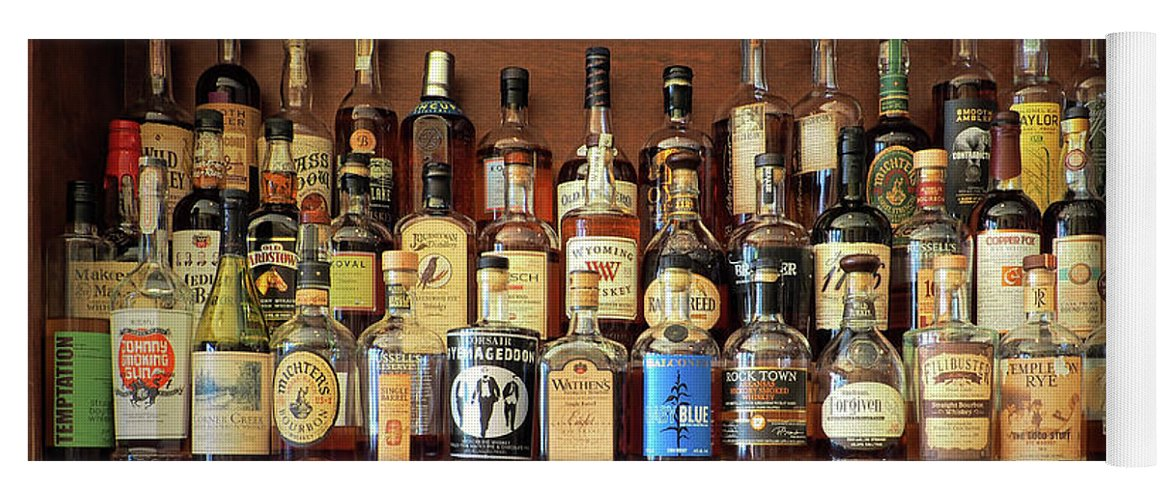 Whiskey Yoga Mat featuring the photograph Top Shelf Whiskey Selection by  Bill Swartwout Fine Art Photography 2b342f61b262f