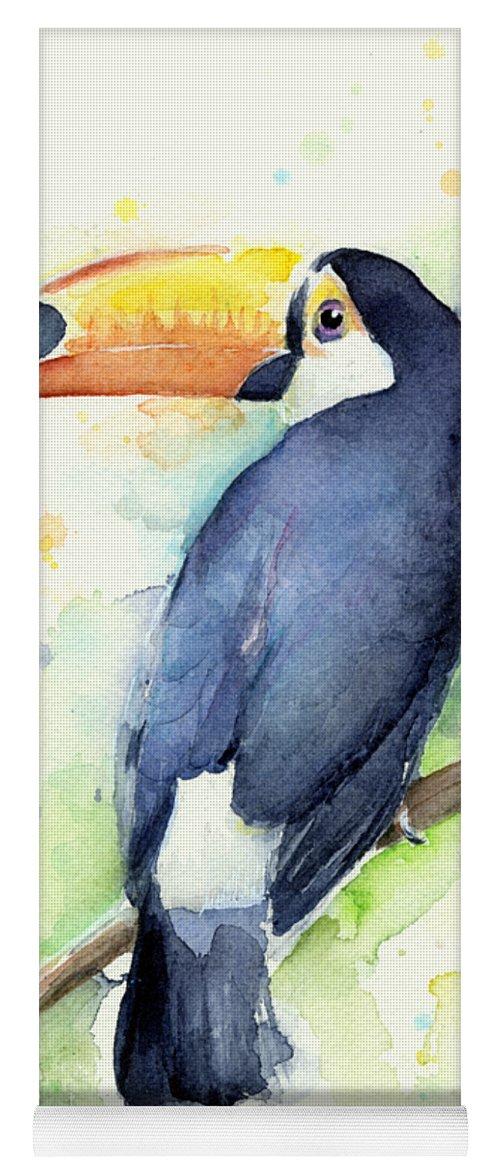 Watercolor Toucan Yoga Mat featuring the painting Toucan Watercolor by Olga Shvartsur