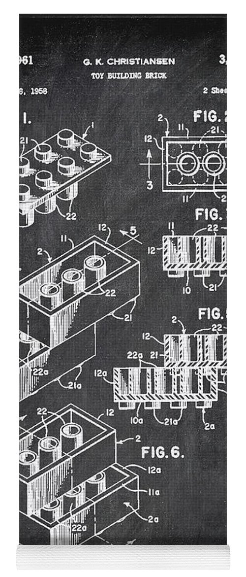 Patent Yoga Mat featuring the mixed media Toy Building Brick Patent Drawing 1b by Brian Reaves