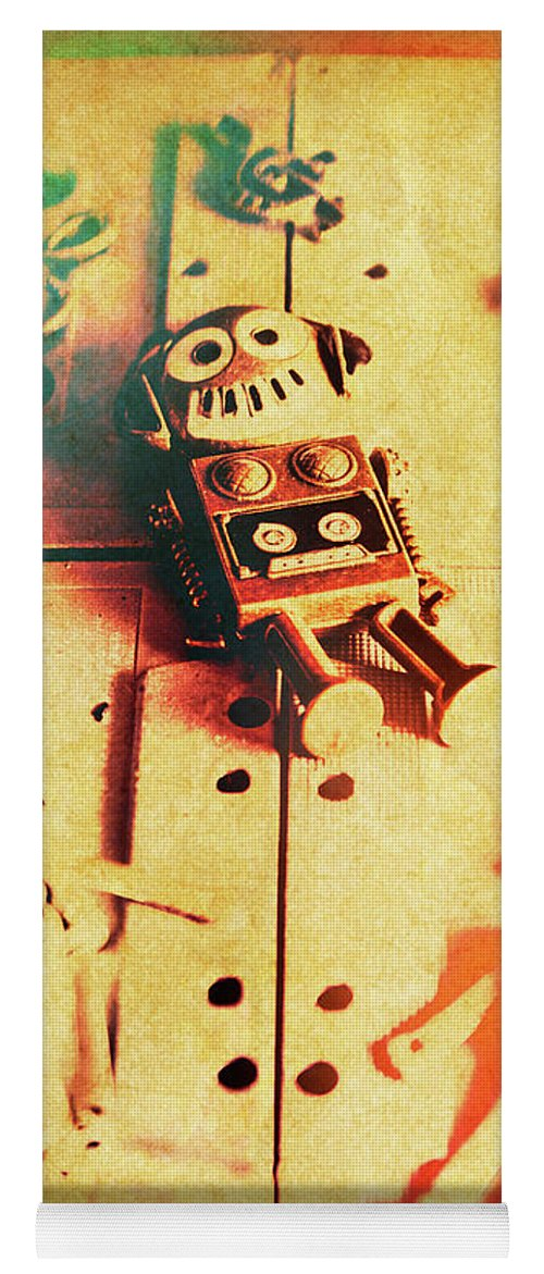 Retro Yoga Mat featuring the photograph Toy Robots On Vintage Cassettes by Jorgo Photography - Wall Art Gallery
