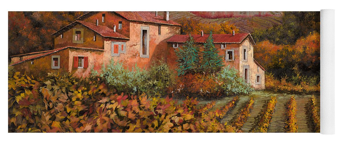 Wine Yoga Mat featuring the painting tra le vigne a Montalcino by Guido Borelli