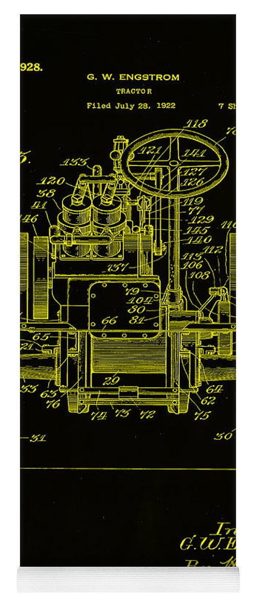 Patent Yoga Mat featuring the mixed media Tractor Patent Drawing 5h by Brian Reaves