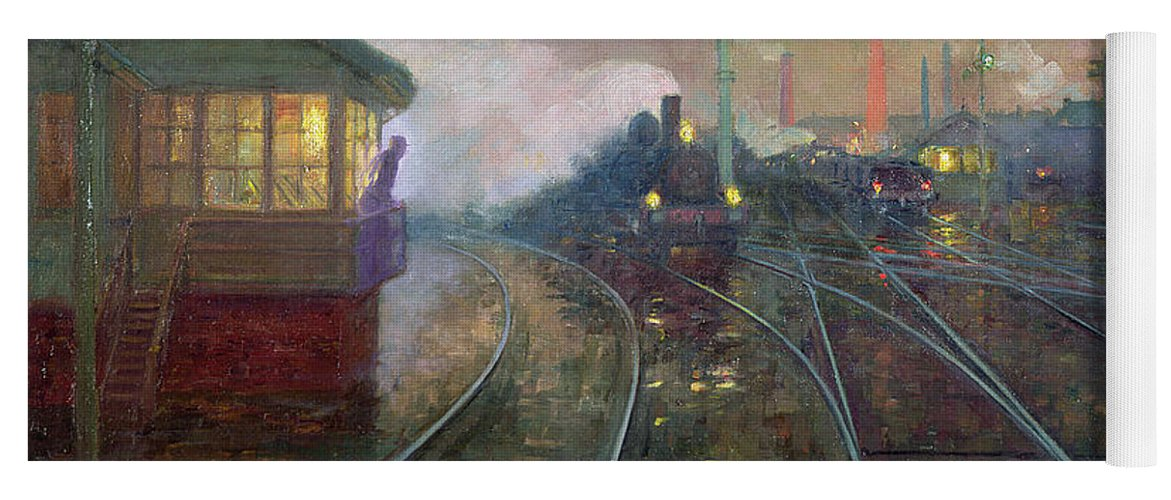 Train Yoga Mat featuring the painting Train At Night by Lionel Walden