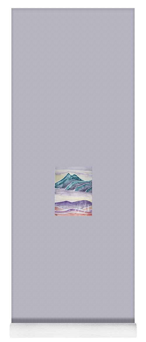 Watercolor Yoga Mat featuring the painting TRANQUILITY landscape mountain surreal modern fine art print by Derek Mccrea