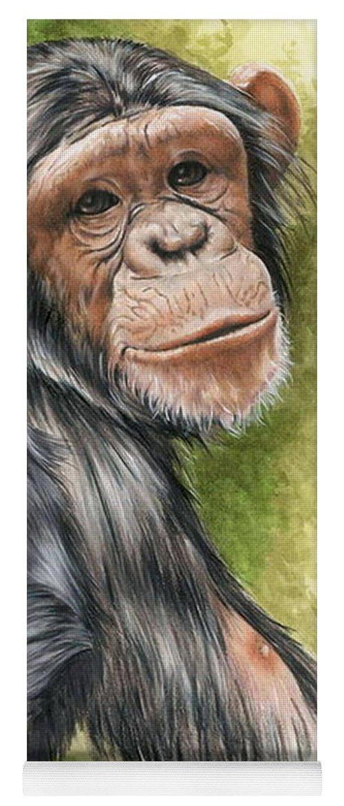 Chimpanzee Yoga Mat featuring the mixed media Treasure by Barbara Keith