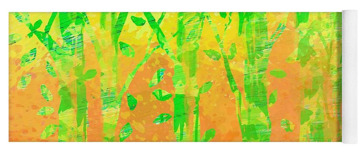 Abstract Yoga Mat featuring the digital art Trees in the Grass by William Russell Nowicki