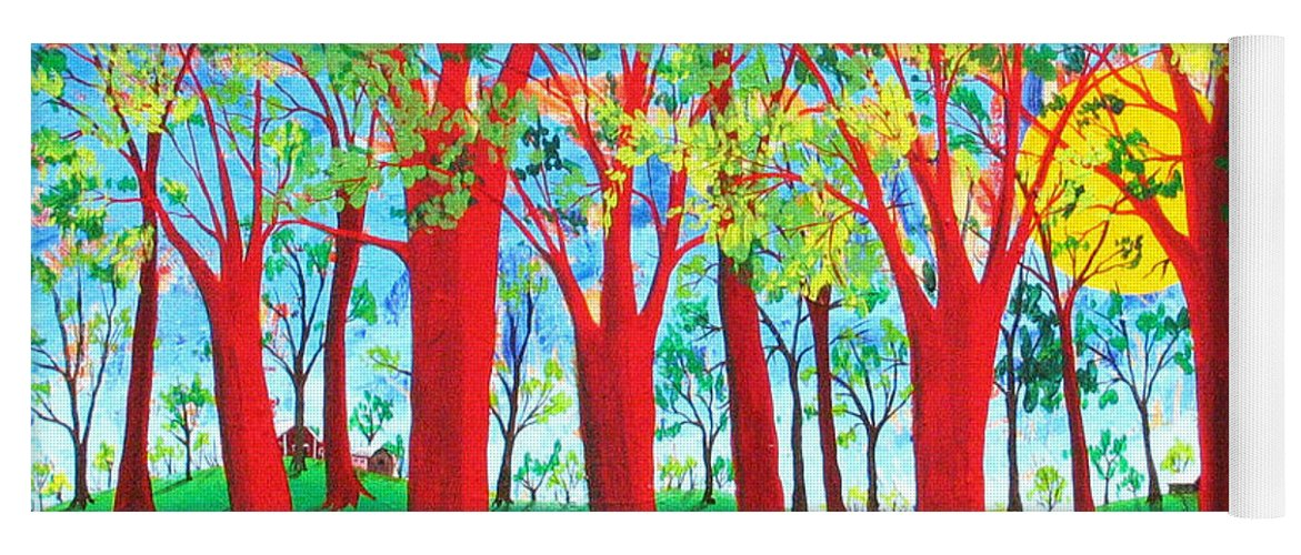 Rollin Kocsis Yoga Mat featuring the painting Trees of Red by Rollin Kocsis