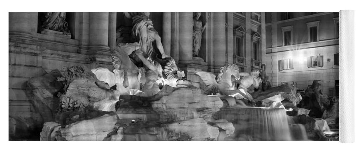 Trevi Fountain Yoga Mat featuring the photograph Trevi Fountain Night 2 by Andrew Fare