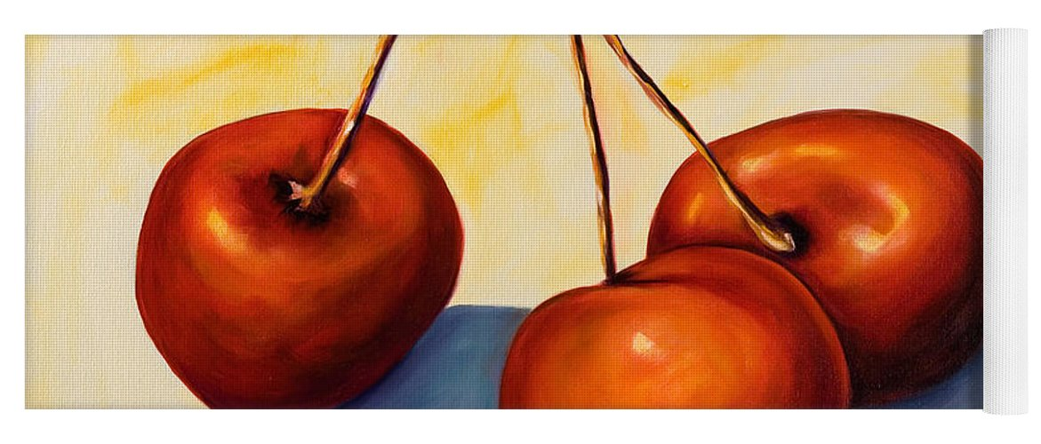 Cherries Yoga Mat featuring the painting Trilogy by Shannon Grissom