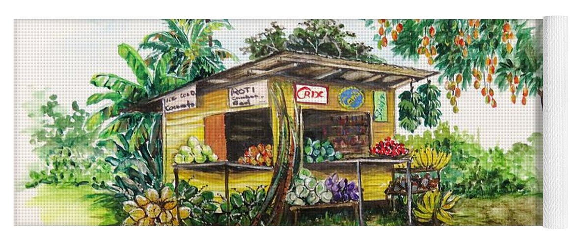 Caribbean Parlor Yoga Mat featuring the painting Trinidad Roadside Vendor by Karin Dawn Kelshall- Best