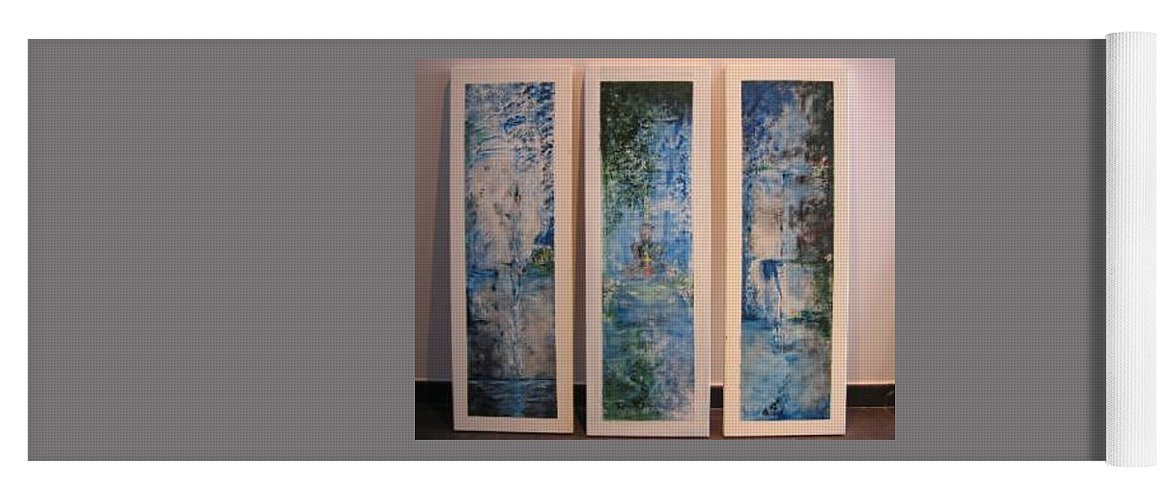 Meditation Yoga Mat featuring the painting Triptych SPIRITUAL MEDITATION by Lizzy Forrester