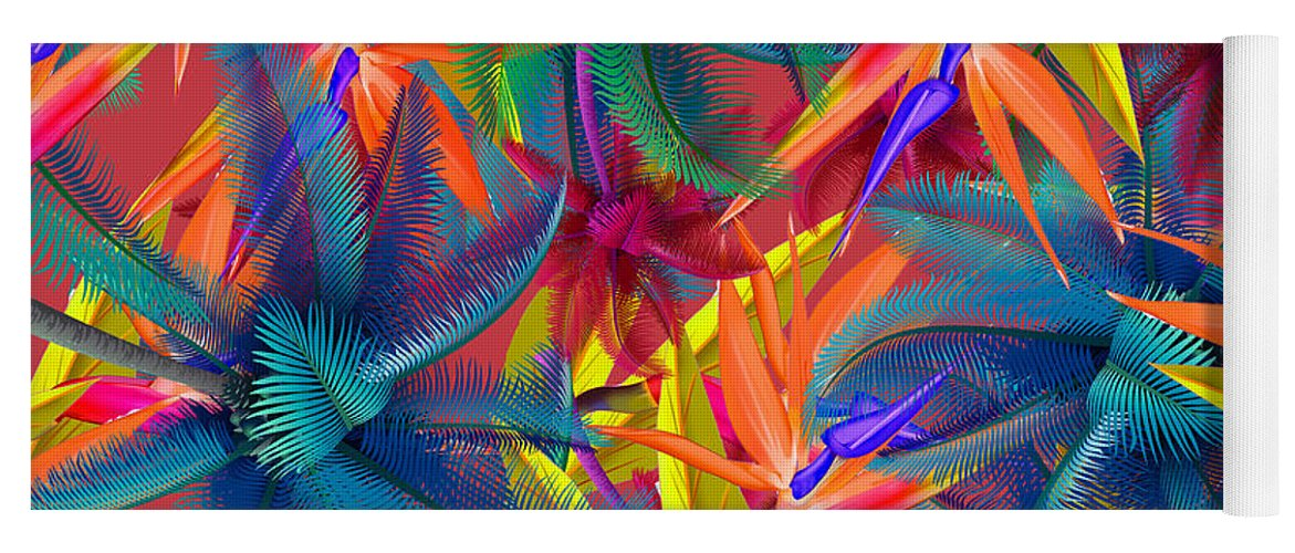 Cherry Yoga Mat featuring the painting Tropical 7 by Mark Ashkenazi