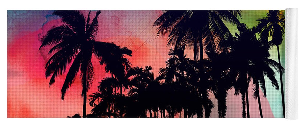 Yoga Mat featuring the painting Tropical Colors by Mark Ashkenazi
