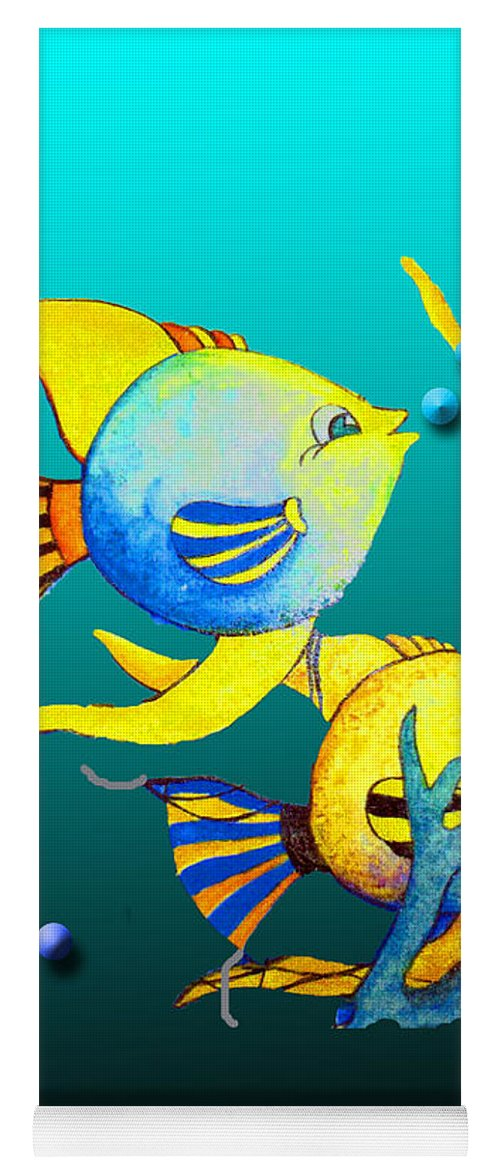 Tropical Yoga Mat featuring the painting Tropical Fish Fun by Jean Habeck