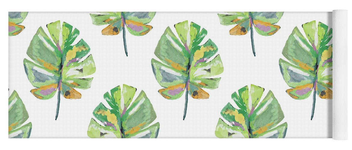 Tropical Yoga Mat featuring the mixed media Tropical Leaves On White- Art by Linda Woods by Linda Woods