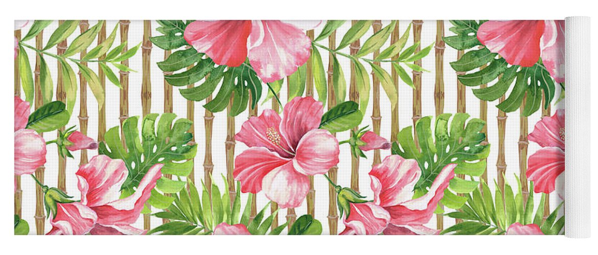 Hibiscus Yoga Mat featuring the painting Tropical Paradise-jp3964 by Jean Plout