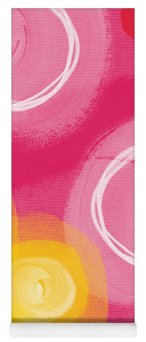 Pink Yoga Mat featuring the painting Tulip Garden- abstract floral painting by Linda Woods