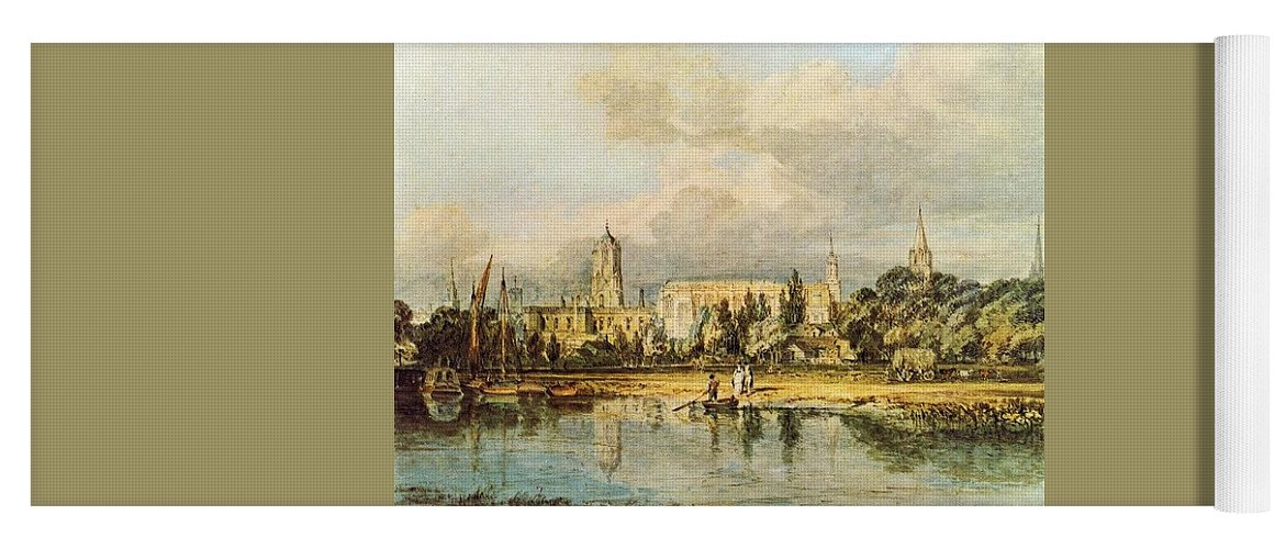 Castle Yoga Mat featuring the digital art Turner Joseph Mallord William South View Of Christ Church Etc From The Meadows Joseph Mallord William Turner by Eloisa Mannion