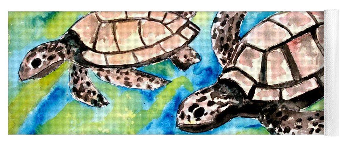 Love Yoga Mat featuring the painting Turtle Love Pair Of Sea Turtles by Derek Mccrea