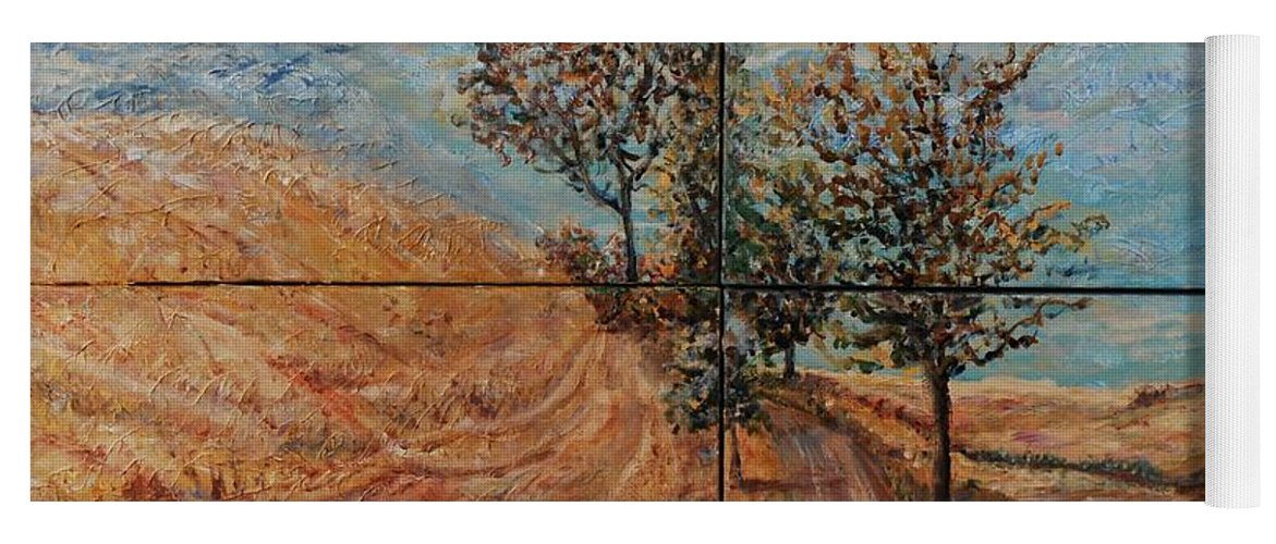 Landscape Yoga Mat featuring the painting Tuscan Journey by Nadine Rippelmeyer