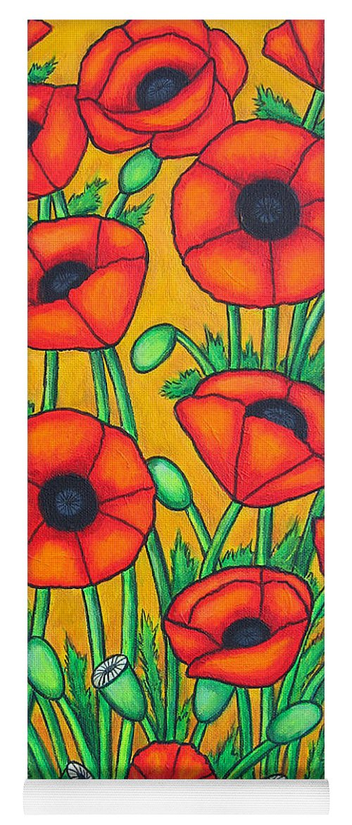 Colourful Yoga Mat featuring the painting Tuscan Poppies by Lisa Lorenz