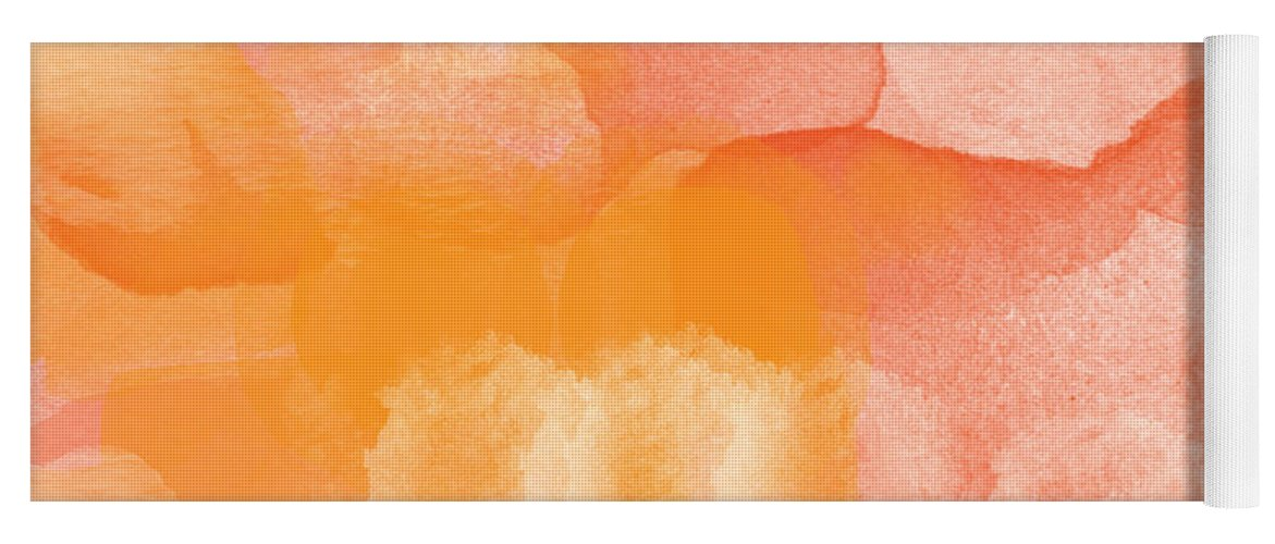 Orange Yoga Mat featuring the painting Tuscan Rose- Abstract Watercolor by Linda Woods