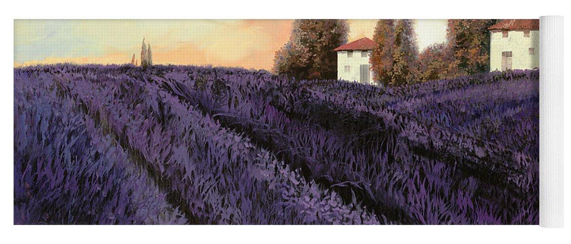 Lavender Yoga Mat featuring the painting Tutta Lavanda by Guido Borelli