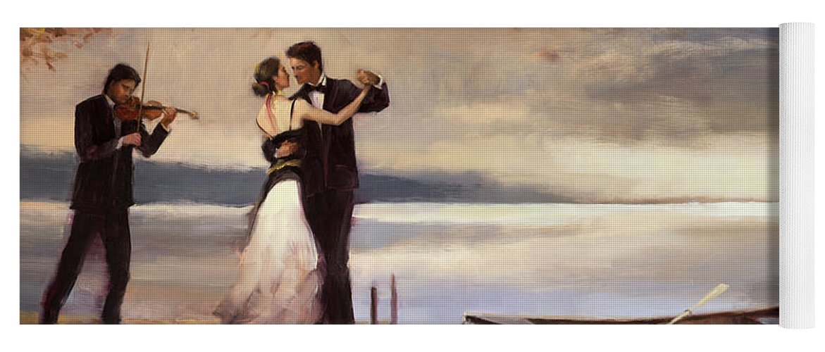 Romantic Yoga Mat featuring the painting Twilight Romance by Steve Henderson