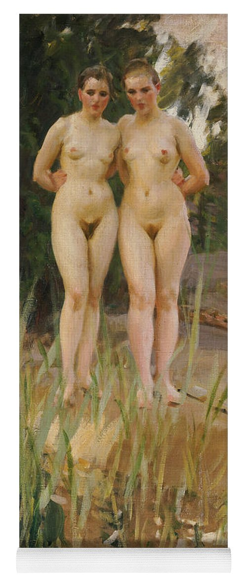 Nude Yoga Mat featuring the painting Two Friends by Anders Leonard Zorn