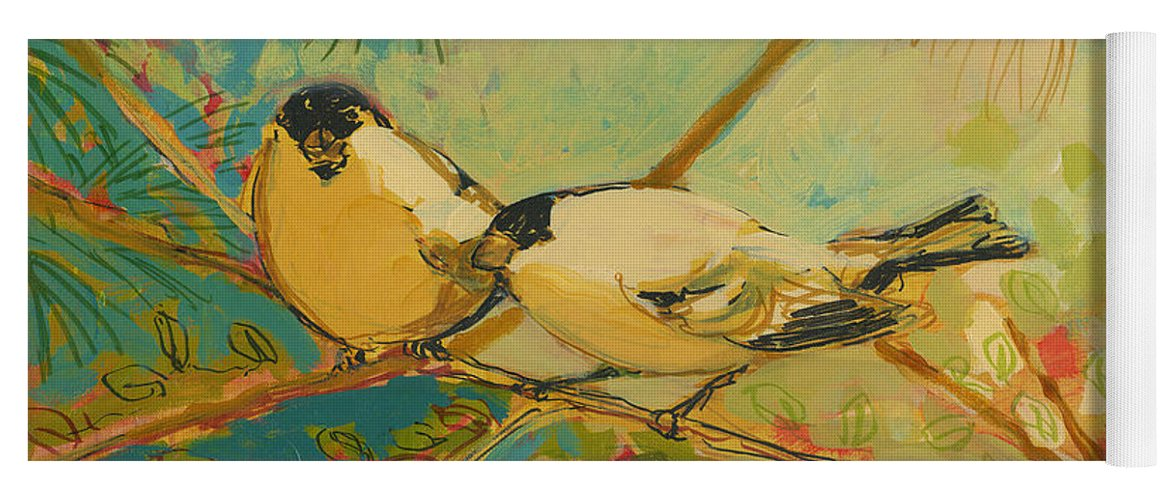 Bird Yoga Mat featuring the painting Two Goldfinch Found by Jennifer Lommers