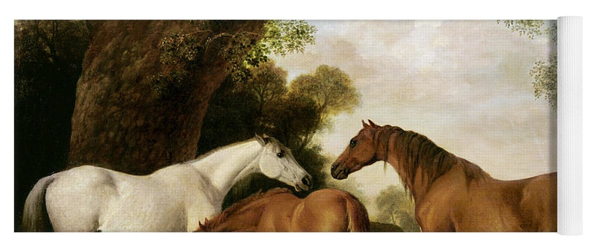 Two Yoga Mat featuring the painting Two Mares And A Foal by George Stubbs