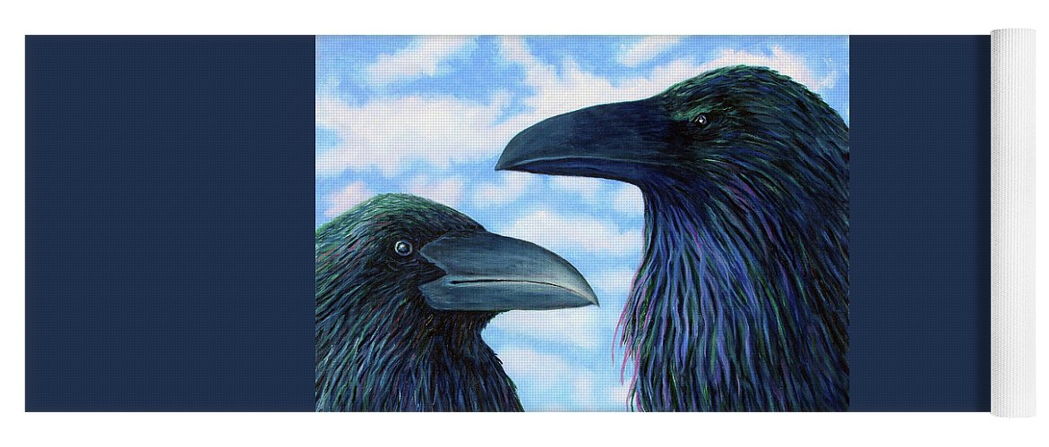 Raven Yoga Mat featuring the painting Two Ravens by Brian Commerford