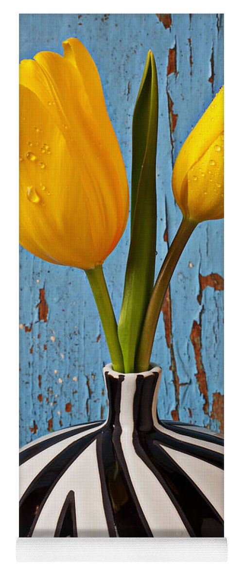 Two Yellow Yoga Mat featuring the photograph Two Yellow Tulips by Garry Gay