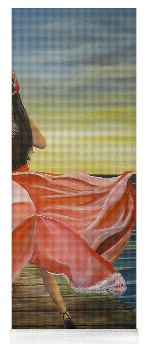 Sunset Yoga Mat featuring the painting Uhane O Ka Welo by Kris Crollard