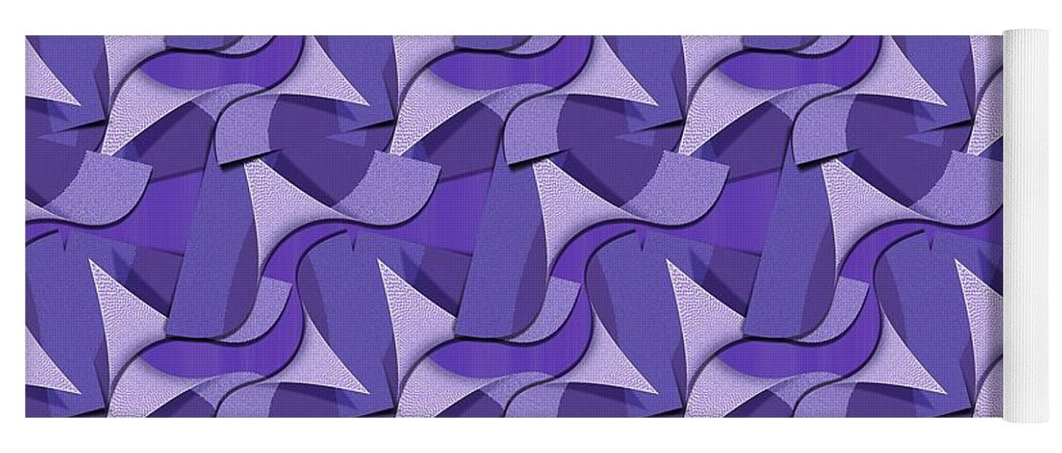 Gravityx9 Yoga Mat featuring the mixed media Ultra Violet Abstract Waves by Gravityx9 Designs