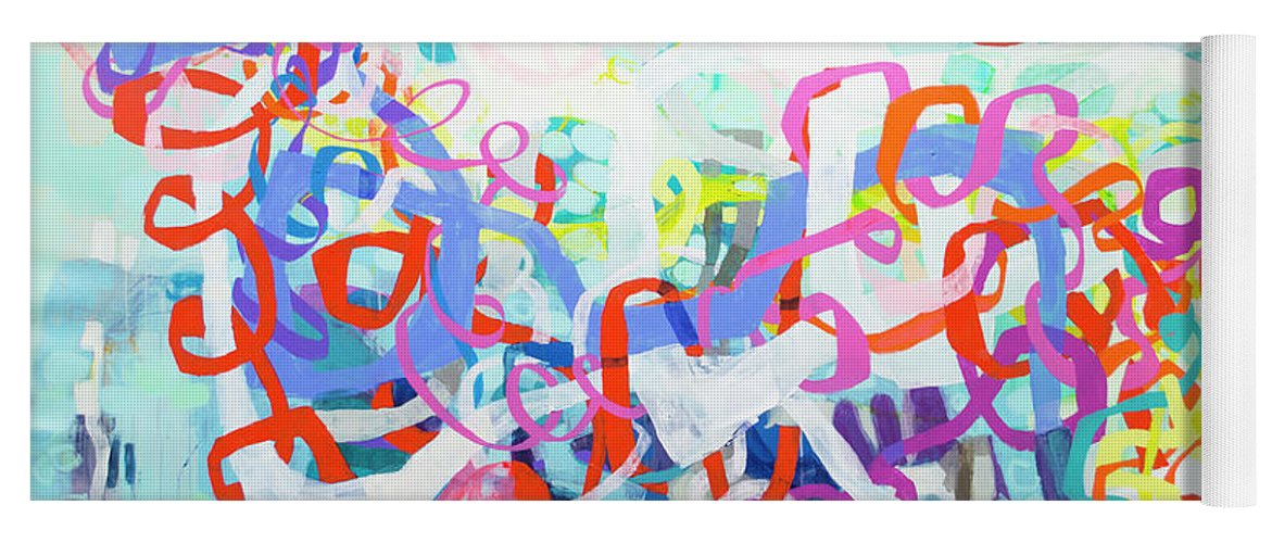 Abstract Yoga Mat featuring the painting Under The Electric Candelabra by Claire Desjardins