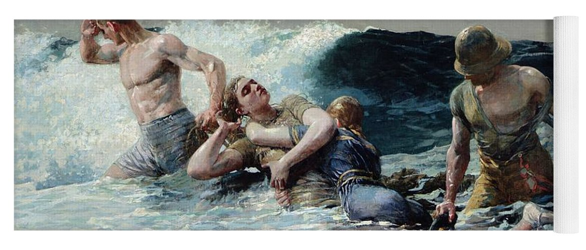 Undertow Yoga Mat featuring the painting Undertow by Winslow Homer