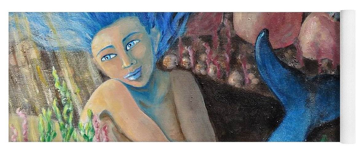 Mermaid Yoga Mat featuring the painting Underwater Wondering by Laurie Morgan