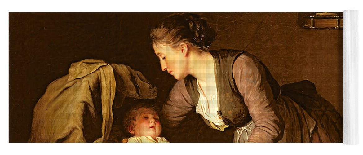 Undressing Yoga Mat featuring the painting Undressing The Baby by Meyer von Bremen