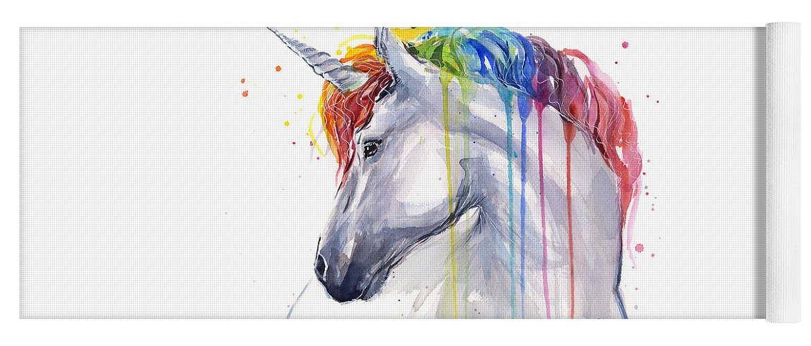 Magical Yoga Mat featuring the painting Unicorn Rainbow Watercolor by Olga Shvartsur