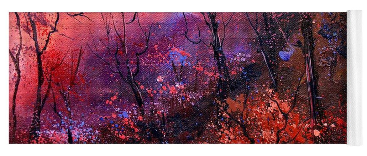 Wood Sunset Tree Yoga Mat featuring the painting Unset In The Wood by Pol Ledent