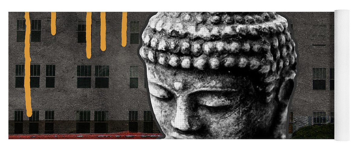 Buddha Yoga Mat featuring the mixed media Urban Buddha by Linda Woods