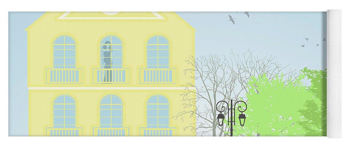 Illustration Yoga Mat featuring the digital art Urban Scene by Gaspar Avila