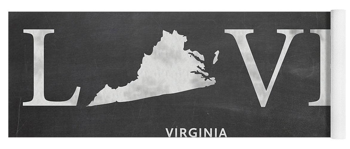Virginia Yoga Mat featuring the mixed media Va Love by Nancy Ingersoll