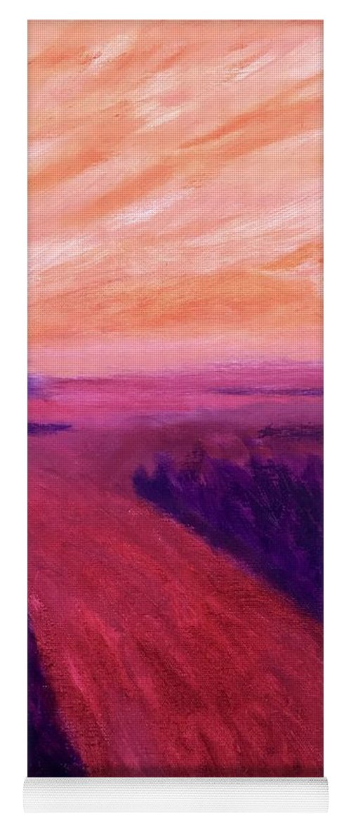 Rivers Water Orange Purple Magenta Wine Skies Yoga Mat featuring the painting Vanishing by Suzanne Udell Levinger